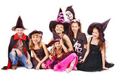 Halloween party with group kid . — Stockfoto