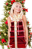 Girl giving stack gift box . — Foto Stock