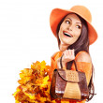 Woman holding orange handbag. — Stock Photo #13626810