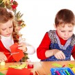 Children boy and girl making decoration card. — Stock Photo #13783724
