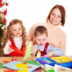 Children making decoration for Christmas. — Stock Photo #13783726