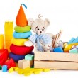 Children toys with teddy bear and cubes. — Stock Photo #13783744