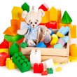 Teddy bear and cubes. Children toys. — Stock Photo