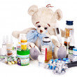Child medicine and teddy bear. — Stock Photo #13783762