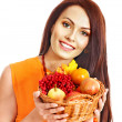 Royalty-Free Stock Photo: Woman holding autumn basket.