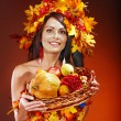 Royalty-Free Stock Photo: Girl  holding basket with fruit.