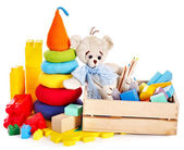 Children toys with teddy bear and cubes. — Stok fotoğraf