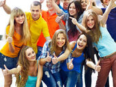 Group isolated thumb up. — Stock Photo