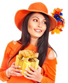 Woman holding gift box . — Stock Photo