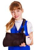 Child with broken arm. — Stock Photo
