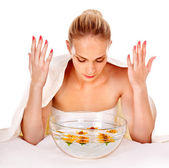 Massagem facial no spa. — Foto Stock