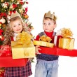 Kids with Christmas gift box. — Stock Photo #13971762