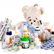 Child medicine and teddy bear. — Stock Photo #13971824