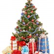 Christmas tree and group gift box. — Foto de Stock