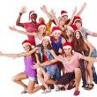 Group in Santa hat. — Stock Photo #13972395