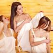 Friend relaxing in sauna. — Stock Photo #13973566