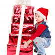 Kid with Christmas gift box. — Stock Photo #13974303