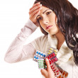 Woman with headache take pills and tablets. - Lizenzfreies Foto
