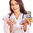 Stock Photo: Doctor holding remedy.
