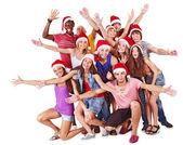 Group in Santa hat. — Stock Photo