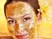 Woman getting facial mask . — Zdjęcie stockowe