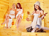 Friend relaxing in sauna. — Stock Photo