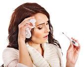 Woman having flue taking thermometer. — Stock Photo