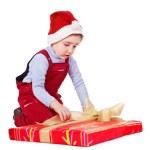 Kid with Christmas gift box. — Stock Photo #14159878