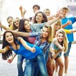 Group in summer outdoor. — Stock Photo #14159996