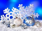 Christmas still life with snowflake and ball. — Stock Photo