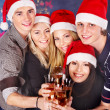 Group young in santa hat. — Stock Photo #14160007
