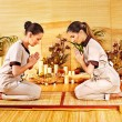 Women at bamboo spa . — Stock Photo #14160319