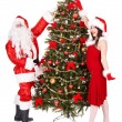 Stok fotoğraf: Christmas girl, santa clause and fir tree.