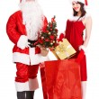 Santa Claus and Christmas girl. — Stock Photo #14160580