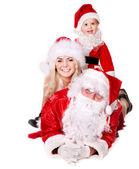 Noel baba aile ile çocuk. — Stok fotoğraf