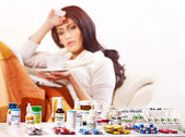 Woman having pills and tablets. — Stok fotoğraf