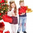 Kids with Christmas gift box. — Stock Photo #14621111