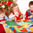 Children  making decoration for Christmas. — Stock Photo
