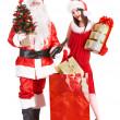 Boże Narodzenie zakupy dziewczyna i santa klauzuli z drzewa — Zdjęcie stockowe