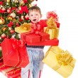 Stock Photo: Kid with Christmas gift box.