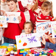 Children making card. — Stock Photo