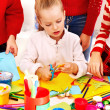 Children making card. - Stock Photo