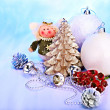 Stock Photo: Christmas still life with tree, ball.