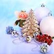 Christmas still life with tree, ball. — Stock Photo