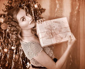 Woman receiving gifts. Black and white retro. — Stock Photo