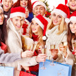 Group and  Santa. — Foto Stock