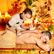 Man getting herbal ball massage treatments . — Stock Photo #14927027