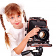 Child with old wood large format digital camera. — Stock Photo #16048429