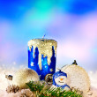 Christmas still life with snowman. — Stock Photo