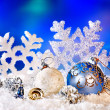 Christmas still life with snowflake and ball. — Stock Photo #16048811